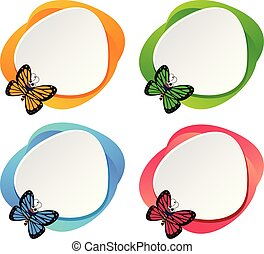 Set of butterfly banner