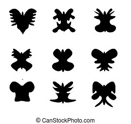 Set of butterfly silhouette