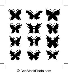 Set of butterfly silhouettes for your design