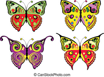 Set of butterflys