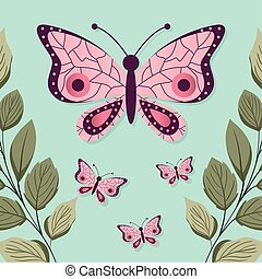 set of butterflys with a pink color