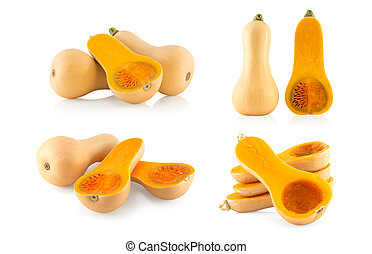 Set of Butternut squash with sliced isolated on white background, food healthy concept