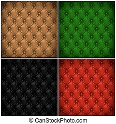 Set of button-tufted leather backgrounds.