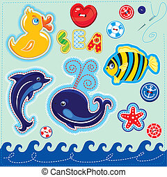 Set of buttons, cartoon animals and word SEA - hand made cutout images and letters - picture for chilfren