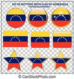 Set of Buttons flag of Venezuela. Vector.