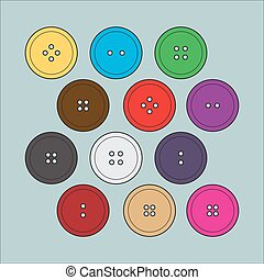 Set of buttons for clothing