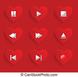 Set of buttons for romantic media player