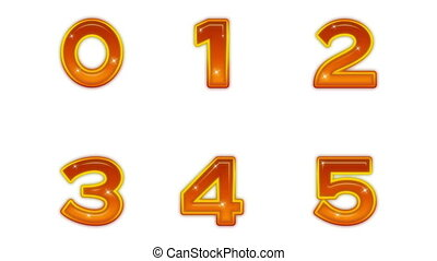 Set of Buttons, Numbers, Seamless Loop