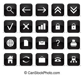 Set of buttons of black colour. A vector illustration