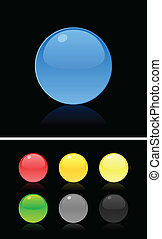 Set of buttons on a black background. A vector illustration