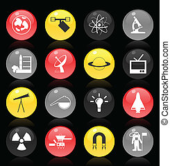 Set of buttons on a science theme. A vector illustration