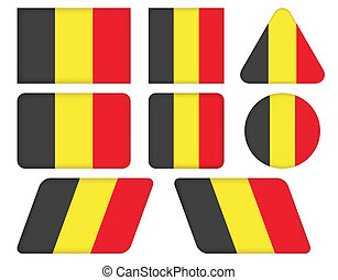 buttons with flag of Belgium