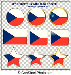 Set of buttons with flag of Czech Republic. Vector illustration