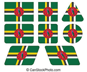 buttons with flag of Dominica