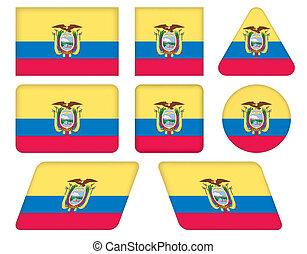 buttons with flag of Ecuador