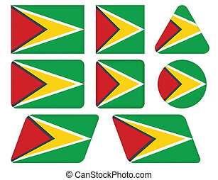 buttons with flag of Guyana