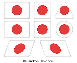 buttons with flag of Japan