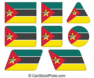buttons with flag of Mozambique