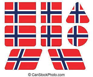 buttons with flag of Norway
