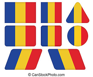 buttons with flag of Romania