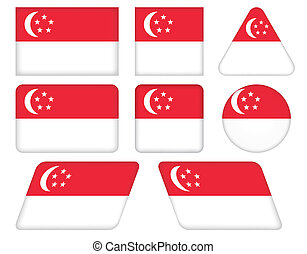 buttons with flag of Singapore