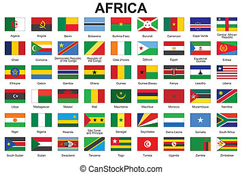 buttons with flags of Africa