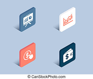 Buy currency, Financial diagram and Presentation icons. Dollar wallet sign.