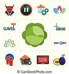 Set of cabbage, plum, fake news, motorcycle shop, boxing gloves, import, holistic, turbine, gavel icons