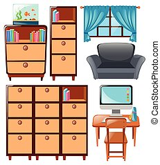 Set of cabinets and other furnitures illustration