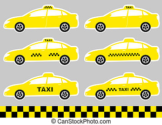 set of cabs with taxi sign