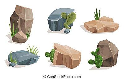 Set of cacti near the stones. Vector illustration.