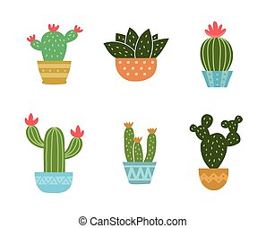 Set of cactus icon collection. Vector