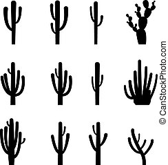 Set of cactus in black silhouette style