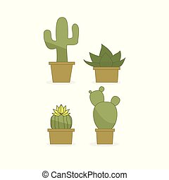Set of cactuses on a white background