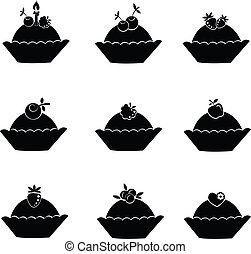 Set of cake icons.