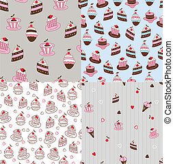 Set of cake seamless patterns
