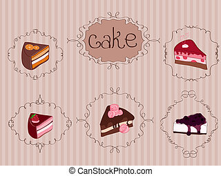 Set of Cakes on Vintage Background