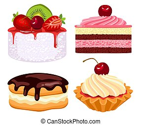 Set of cakes with cream