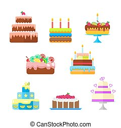 Set of cakes with fruit and candles to the birthday or other holidays. Vector, illustration in flat style isolated on white background EPS10.