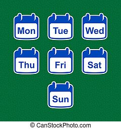 Set of calendar icons with days of the week. Simple design.