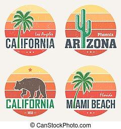 Set of California, Arizona, Miami t-shirt tee prints