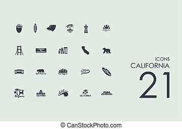 Set of California icons - California vector set of modern...