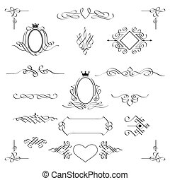 Set of calligraphic design elements. Vector.