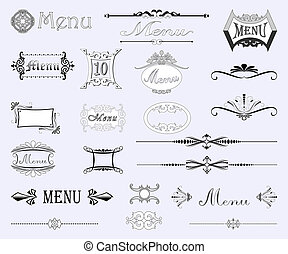 Set of calligraphic designs