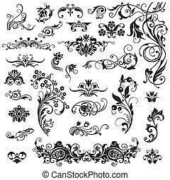 Set of calligraphic elements