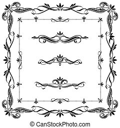 Set of calligraphic frames and elements. THis image is a...