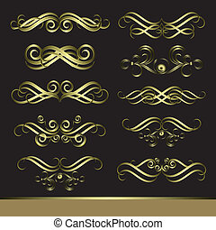 Set of calligraphic golden pattern