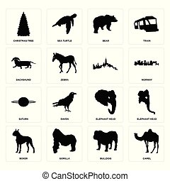 Set of camel, bulldog, boxer, elephant head, saturn, , dachshund, bear, christmas tree icons