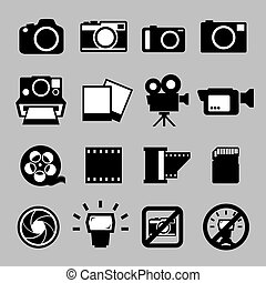 Set of camera and Video icons ,Illustration