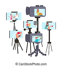 Set of cameras with vloggers - Set of cameras with male and ...